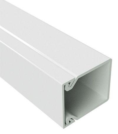 40x40 Короб із кришкою із плоскою основою, довжина 2м, білий RAL9001 ДКС [324] TA-EN