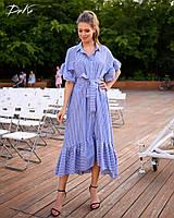 Платье женское длинное из льна на пуговицах с рубашечным воротником (К28269), фото 1
