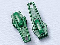 Бегунок №7 на спиральную молнию, цв. зелёный, фото 1
