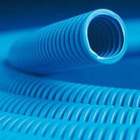 Труба ПП гибкая гофр. д.25мм, тяжёлая с протяжкой, 50м, цвет синий