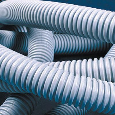 Труба ПВХ гибкая гофр. д.16мм, тяжёлая с протяжкой, 100м, цвет серый