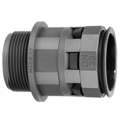 Муфта труба-коробка DN 23 мм, М32х1,5, полиамид, цвет черный