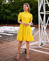 Платье женское короткое из шифона с воротником стойкой под пояс (К28270), фото 1
