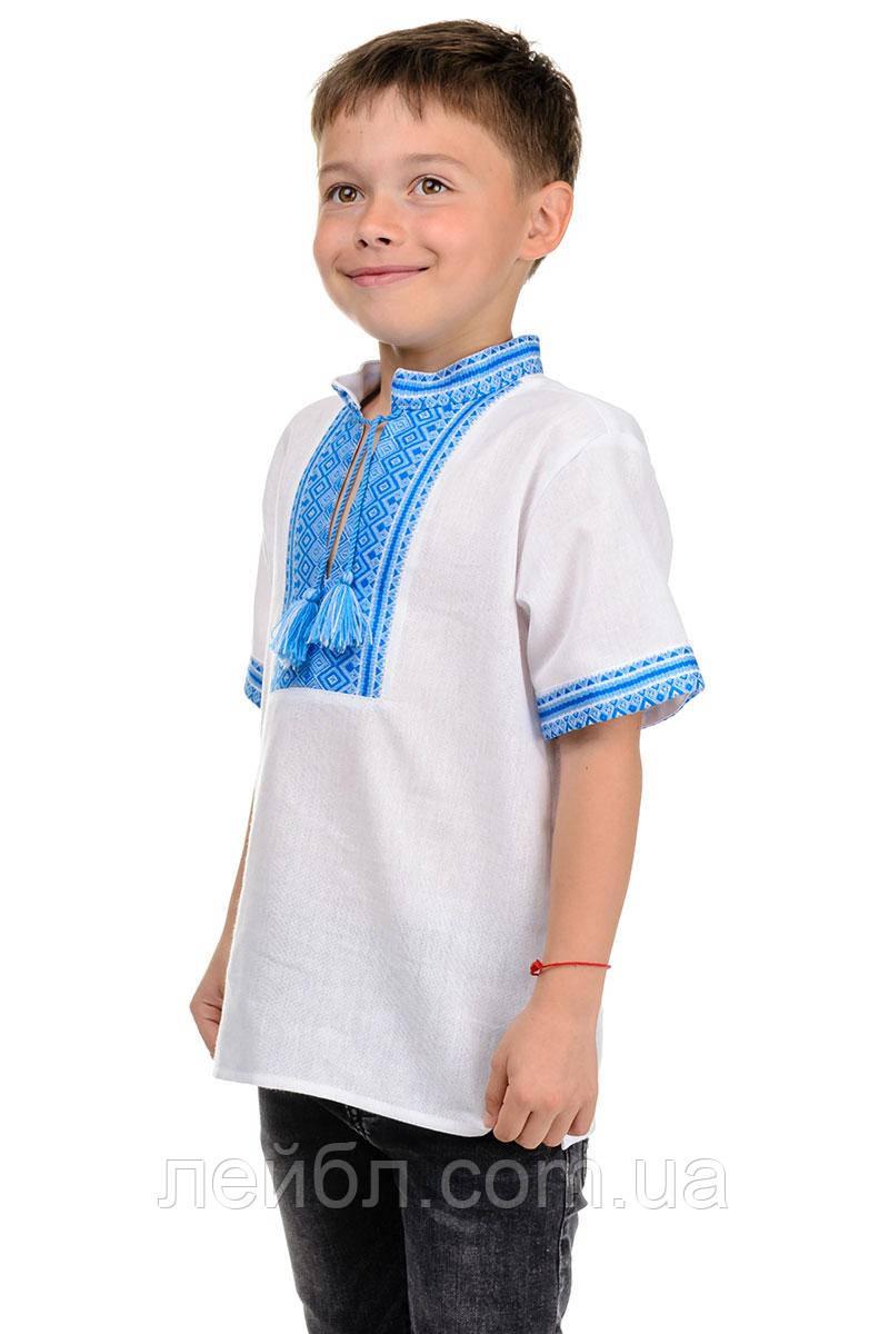 Детская сорочка-вышиванка с коротким рукавом (голубая вышивка)