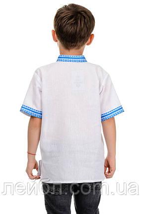 Детская сорочка-вышиванка с коротким рукавом (голубая вышивка), фото 2