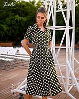 Платье женское длинное на пуговицах в горох (К28271), фото 1