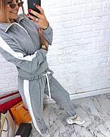 Костюм женский стильный реглан на змейке поло и штаны с лампасами Dva1666