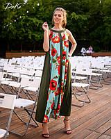 Сарафан женский длинный со вставкой из цветочного принта (К28272), фото 1
