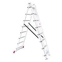 Лестница алюминиевая 3—х секционная универсальная раскладная 3x8ступ. 5.09м Intertool LT—0308