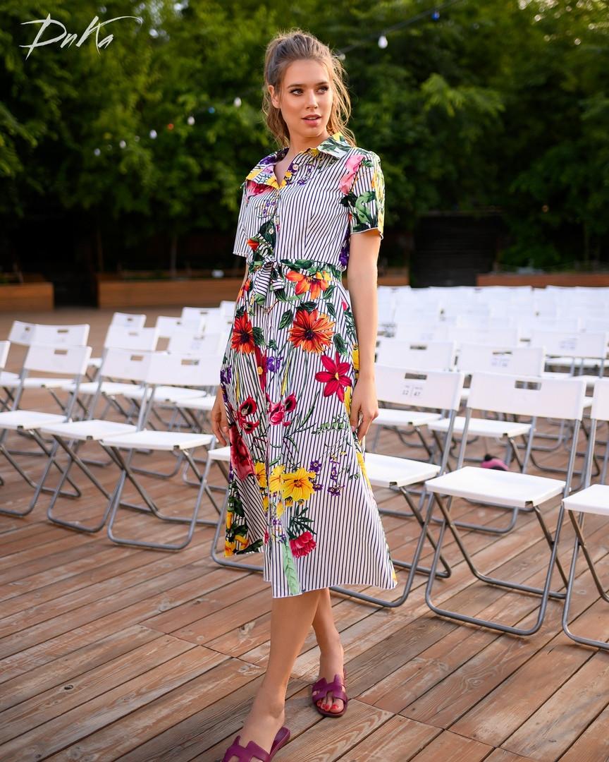 Платье женское длинное из коттона на пуговицах с цветами (К28274)