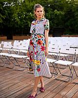 Платье женское длинное из коттона на пуговицах с цветами (К28274), фото 1