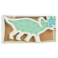 Деревянный ночник Динозавр зеленый