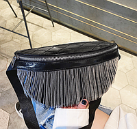 Черная стеганая поясная сумка, бананка, фото 1