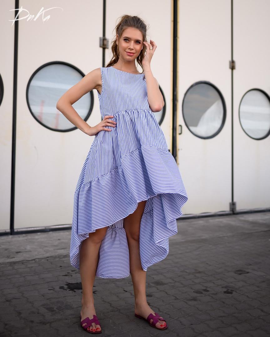 Платье женское короткое ассиметричное из коттона в мелкую полоску (К28279)