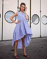 Платье женское короткое ассиметричное из коттона в мелкую полоску (К28279), фото 1