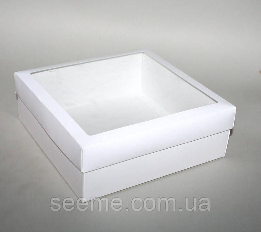 Коробка подарочная с окошком, 200х200х70 мм.