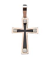 Серебряный крестик Техас с золотом и эмалью