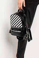 Черный рюкзак в полоску с кисточкой и внешним карманом