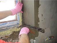 Штукатурка откосов, шпатлевка откосов с установкой уголков, без покраски, ширина до 18 см