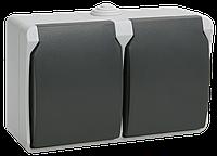 Розетка 2-местная для открытой установки РСб22-3-ФСр с з/к ФОРС IP54 ІЕК [ERS22-K03-16-54-DC] ИЕК