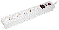 Сетевой фильтр СФ-05К-выкл. 5 мест 2Р+РЕ/5метров 3х1мм2 ІЕК [WFP10-16-05-05-N] ИЕК