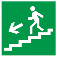 """Самоклеюча етикетка 150х150мм """"Напрямок до евакуаційного виходу (по сходах ліворуч вниз)"""" ІЕК [YPC30-150NEV-LNALVN]"""
