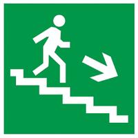 """Самоклеюча етикетка 50х50мм """"Напрямок до евакуаційного виходу (по сходах праворуч вниз)"""" ІЕК [YPC30-50NEV-LNAPRVN]"""