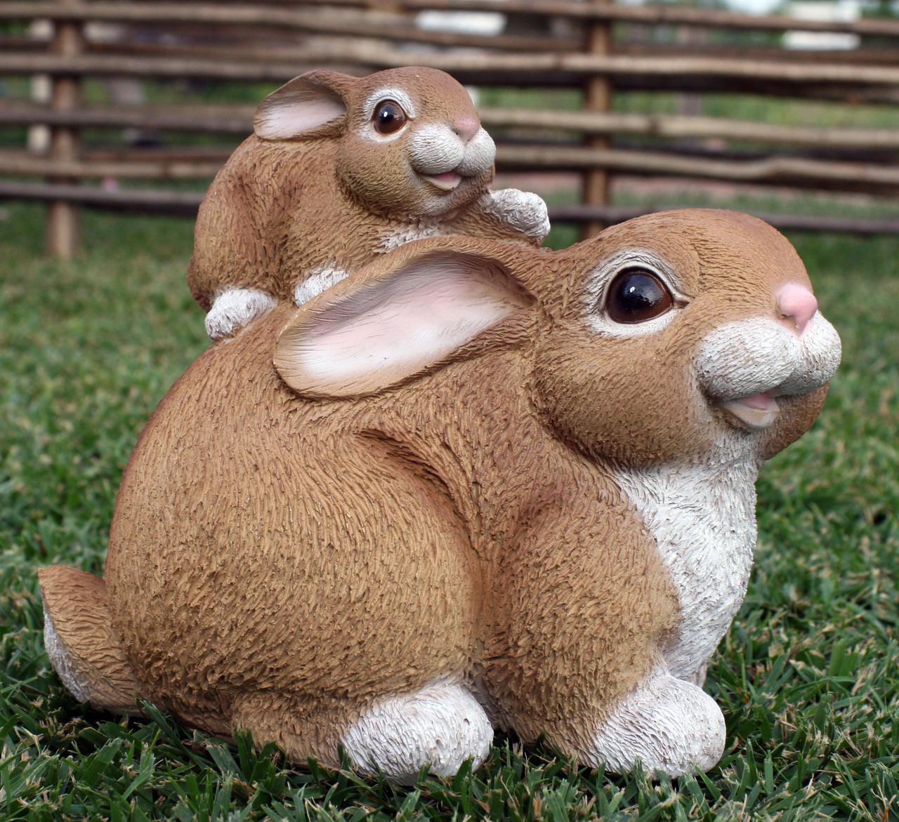 "Садова фігура ""Заєць із зайченком"" H - 19см"