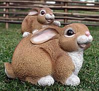 """Садова фігура """"Заєць із зайченком"""" H - 19см, фото 1"""