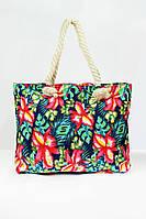 Пляжная сумка с ярким цветочным рисунком и ручками из каната