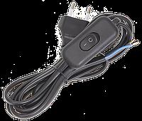 Шнур УШ-1КВ опрессованный с вилкой со встроенным выключателем 2х0,75/2м черный ІЕК [WUP20-02-K02] ИЕК