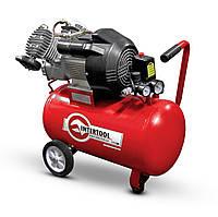 Компрессор 50 л, 3 кВт, 220 В, 8 атм, 420 л/мин, 2 цилиндра., Intertool PT-0007