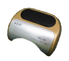LED + CCFL лампа гібрид на 48 вт, для гель-лаків і для гелю з таймером 10, 30 і 60 сек золото без коробки