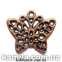 """Метал. подвеска """"бабочка"""" медь (3х2,5 см) 5 шт в уп."""