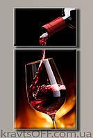 "Модульная картина на холсте из 2-х частей ""Красное вино"" ( 104х54 см )"