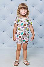Летний детский спортивный костюм с шортиками Пончики