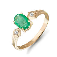 Золотое кольцо с изумрудом и бриллиантами 0,03 карат