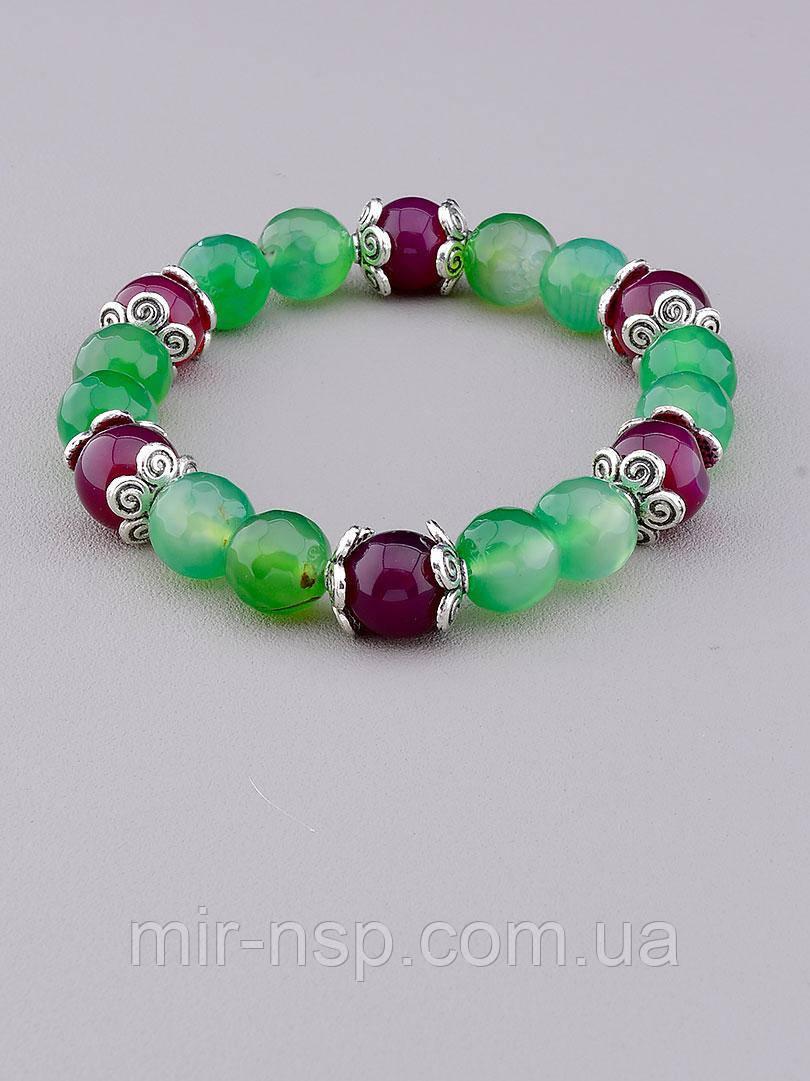 Браслет натуральный агат зеленый и фиолетовый 10 мм