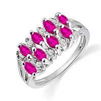 Золотое кольцо с рубином и бриллиантами 0,08 карат