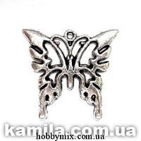 "Метал. подвеска ""бабочка"" серебро (2,5х2,5 см) 6 шт в уп."