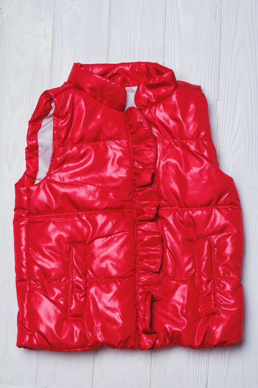 Модная детская жилетка с оборочкой Красная
