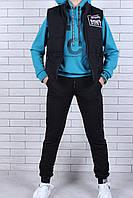Спортивный костюм подростковый для мальчика тройка с жилеткой от 9 до 14 лет, цвет морской волны