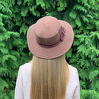 Женская шляпа канотье  коричневая