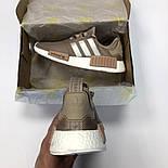 Женские кроссовки Adidas NMD R1 Women коричневые. Живое фото (Реплика ААА+), фото 5