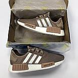 Женские кроссовки Adidas NMD R1 Women коричневые. Живое фото (Реплика ААА+), фото 6