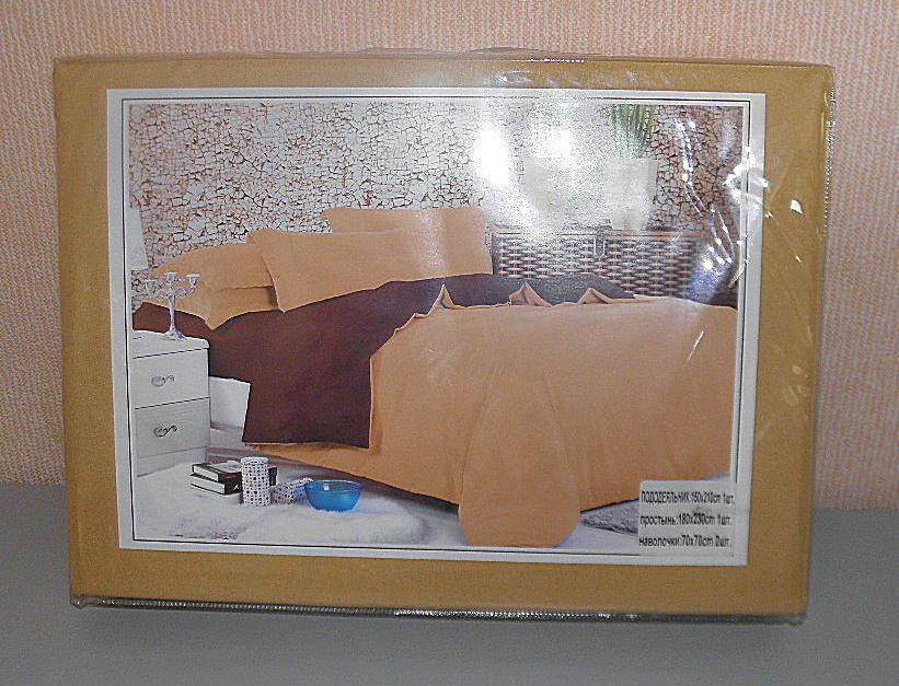 Комплект постельного белья евро размер однотонное поплин (F-646)