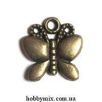 """Метал. подвеска """"бабочка"""" бронза (1,7х1,8 см) 8 шт в уп."""