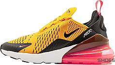 Женские кроссовки Nike Air Max 270 GS University Black Gold 943345-700, Найк Аир Макс 270