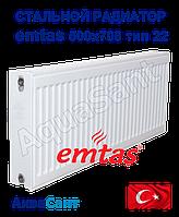 Стальной радиатор Emtas 500/700 тип 22 боковое подключение