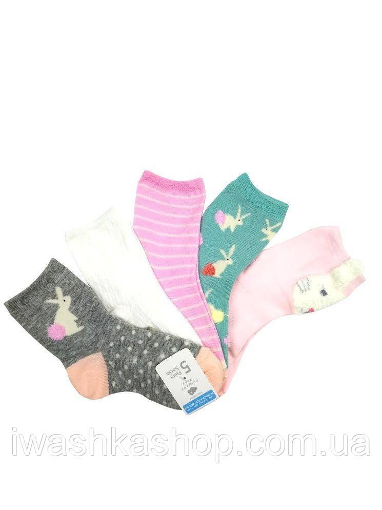 Разноцветные носки с кроликами комплектом для девочки Primark р. 23 - 26 на 2 - 3 года
